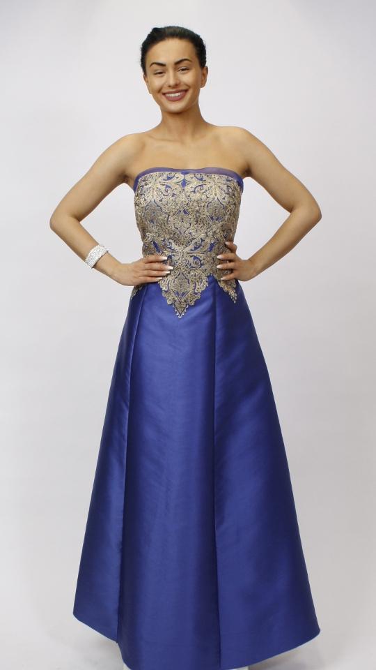 Evening dress blue gold