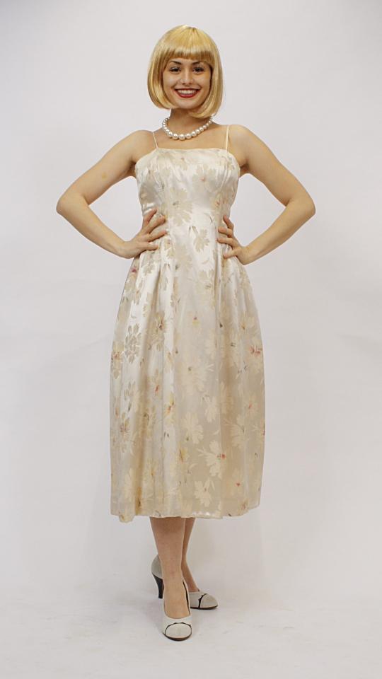 50er Jahre Kleid creme Blumen - Kostümverleih Breuer in ...