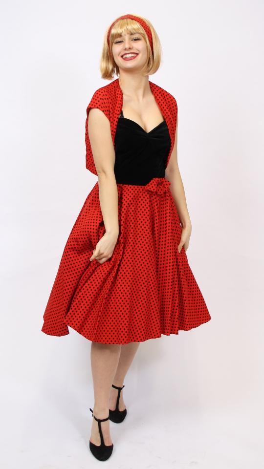 50er Jahre Kleid rot schwarz getupft