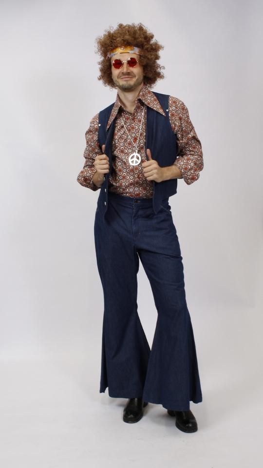 70er Jahre Hippie Jeans Weste & Hose