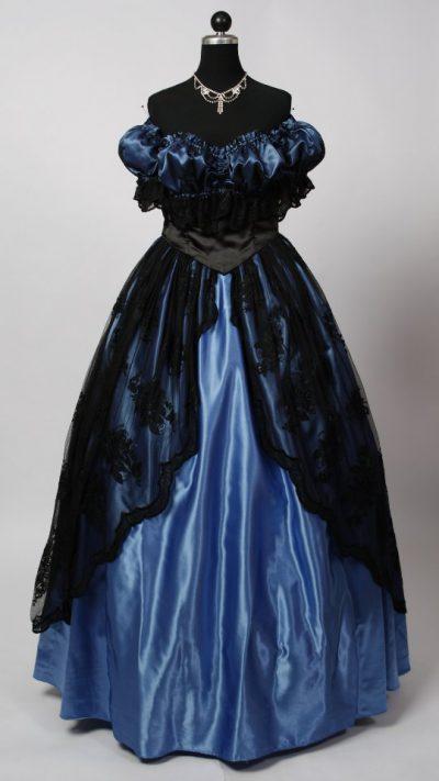 ballkleid-blau-schwarze-spitze
