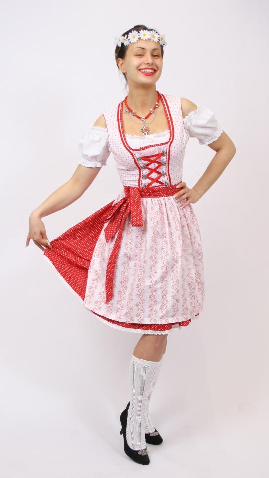 Dirndl weiß/rot