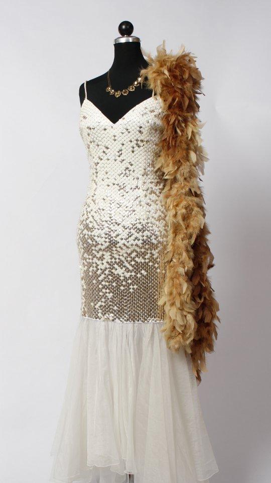 Paillettenkleid weiß gold