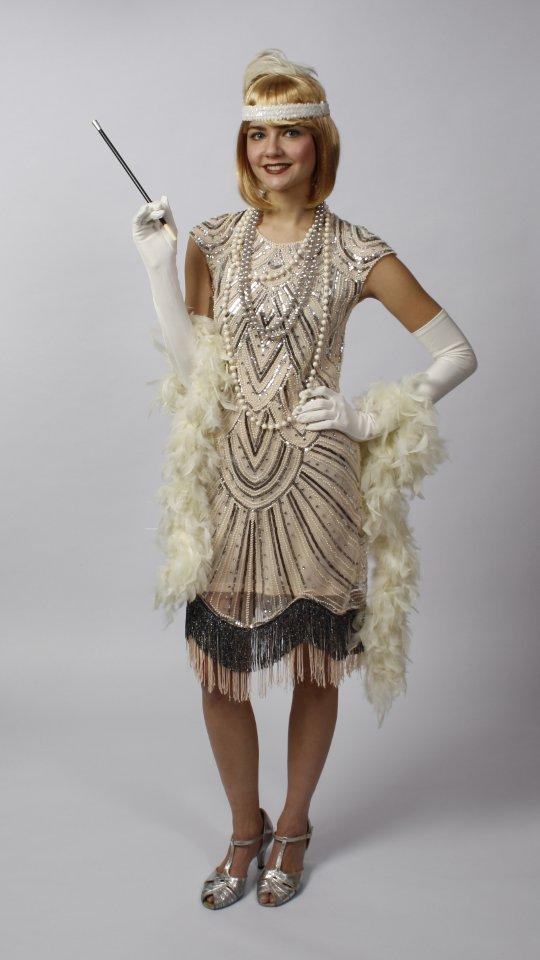 zwanziger Jahre Kleid Pailletten beige